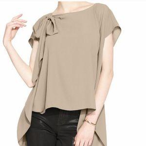 Rachel Roy. Black. Side slit bow blouse.